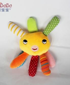 卡通布娃娃毛绒玩具八爪鱼带响铃
