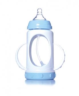 防爆晶钻玻璃宽口径双柄自动奶瓶