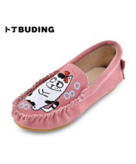 真皮童鞋女童豆豆鞋