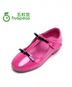 儿童甜美蝴蝶结皮鞋(紫红色)