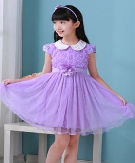 夏季女童时尚玫瑰花短袖纱裙
