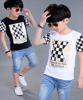 黑白格休闲圆领短袖T恤