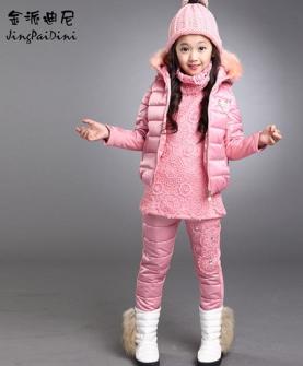 女童韩版蕾丝加厚棉衣三件套