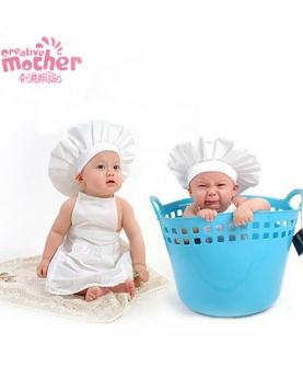 儿童摄影服装白色小厨师套装
