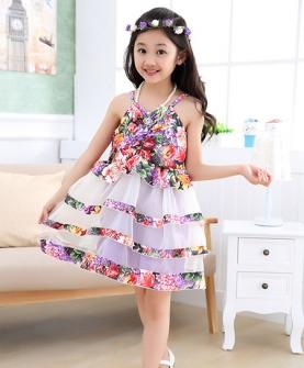 女童花朵吊带裙背心裙