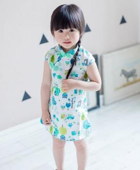 棉麻花朵女童旗袍