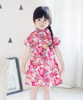 纯棉印花女童旗袍连衣裙