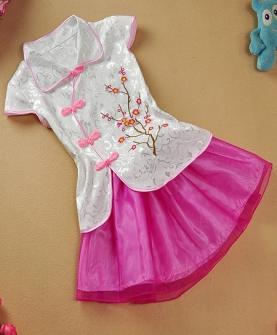 夏季女童旗袍裙套装