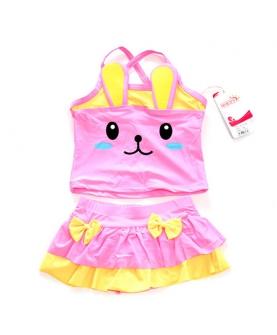 可爱兔子女童连体泳衣