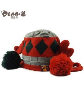 男女宝宝针织帽耳机婴儿套头帽