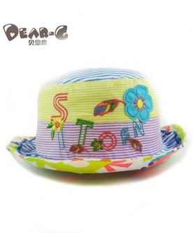 宝宝纯棉花边遮阳渔夫帽