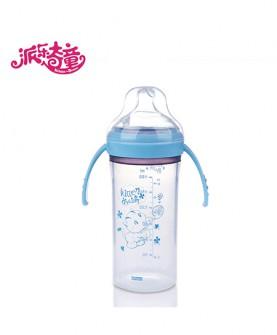 带手柄防摔宽口径矽晶硅胶奶瓶
