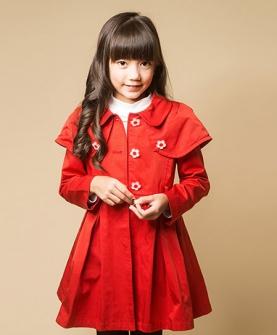 大红色雏菊系列两穿风衣
