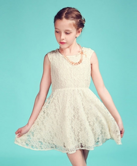 米白色全蕾丝连衣裙