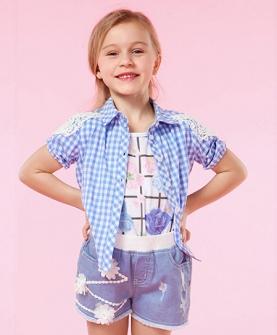 蓝色小清新格子全棉蕾丝衬衣