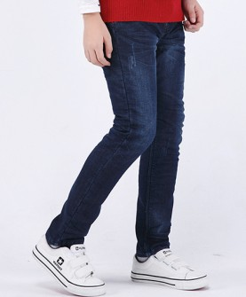 冬季男童加绒加厚牛仔裤