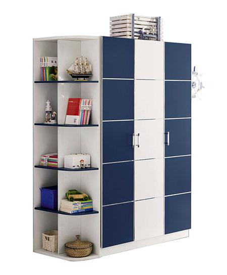 可爱多三门衣柜+转角书架