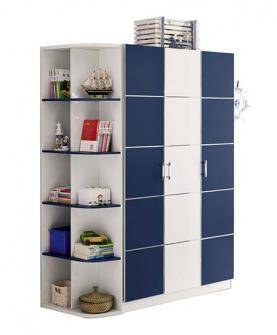 三门衣柜+转角书架