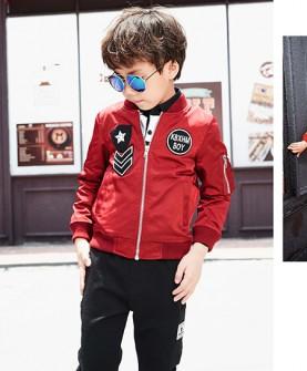 男童红色休闲外套