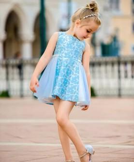 女童蓝色小花连衣裙
