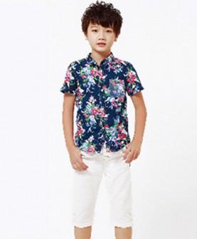 短袖衬衫+七分裤