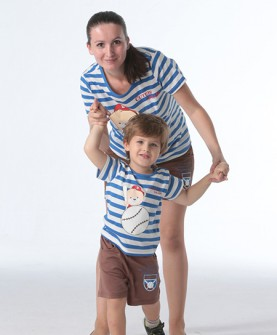 母子蓝色条纹亲子装