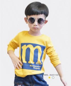 男童长袖字母T恤
