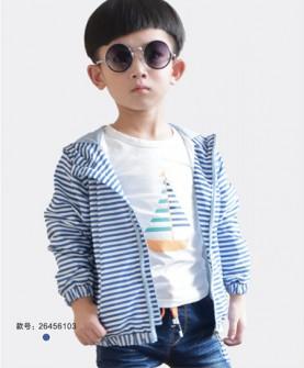 男童蓝白条纹外套