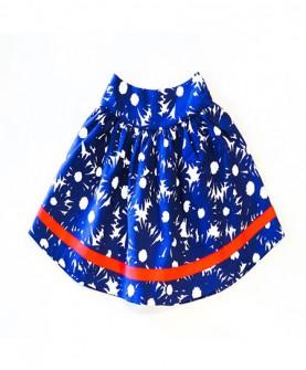 女童蓝色印太阳花短裙