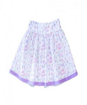 女童白底香水瓶图案短裙