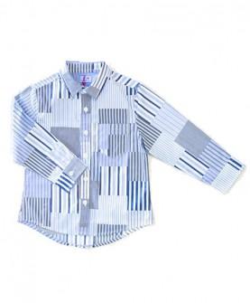 男童蓝色粗幼条印花长袖衬衫
