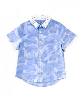 男童双领迷彩短袖衬衫