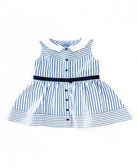 女童蓝白条子连身裙