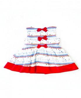 女童红蓝间波点连身裙