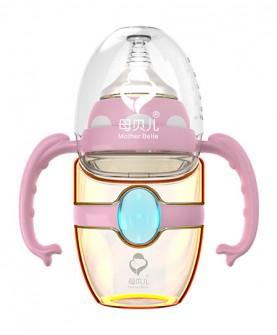宽口径蓝宝石感温带柄自动PPSU奶瓶