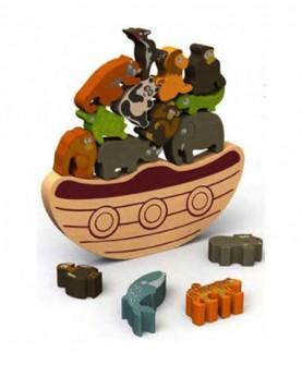 动物平衡船木质拼图