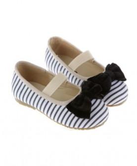 条纹蝴蝶结单鞋