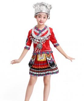 儿童少数民族服装苗族演出服