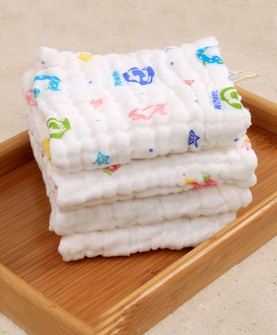 6层水洗纱布口水巾小方巾