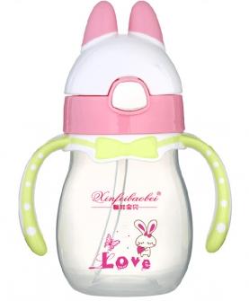 婴儿奶瓶小兔粉色