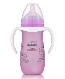 宽口硅胶感温自动玻璃奶瓶280ml 紫色