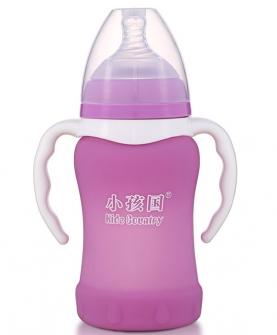 宽口感温自动玻璃奶瓶220ml 紫色