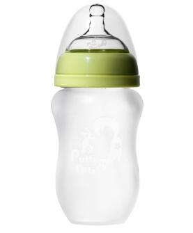 带奶盖吸管奶瓶260ml绿色