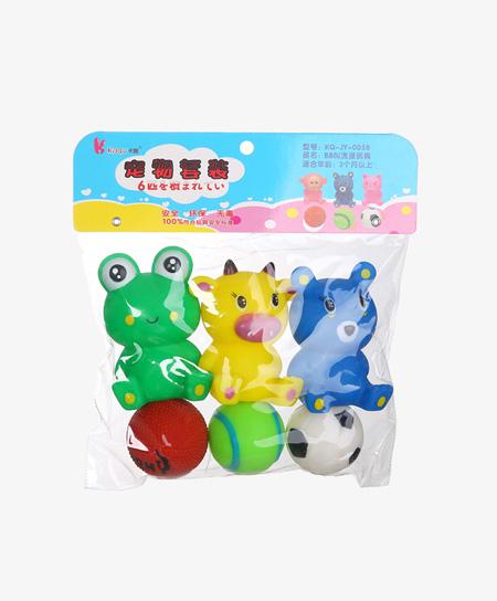 卡趣玩具宝宝玩偶套装-三只动物和三只球代理,样品编号:59838