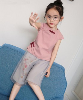 女童复古旗袍套装