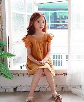 女童雪纺纯色连衣裙