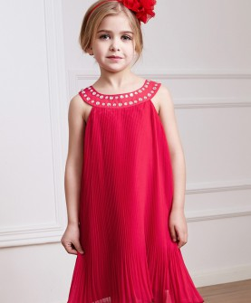 女童红色气质连衣裙