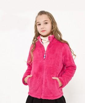 方格内里加绒珊瑚绒女童外套