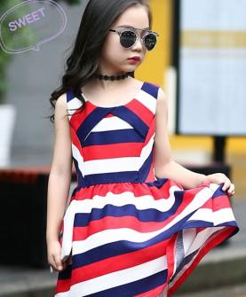 女童简约条纹裙