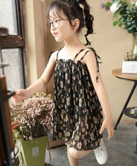 衣童盟印花吊带裙